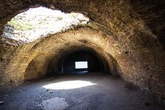 Een ondergrondse Byzantijnse die vesting, door een Steenbok wordt opgemaakt stock foto