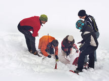 Een onderzoek en reddingsteam die diepe sneeuw zoeken stock afbeeldingen