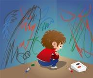 Een ongelukkig kind verbergt zich bij de hoek vector illustratie