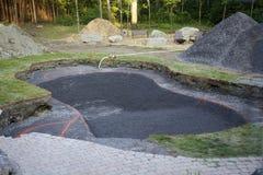 Een onlangs gegraven in-grondpool Royalty-vrije Stock Foto