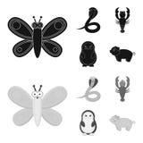 Een onrealistische zwarte, monochrom dierlijke pictogrammen in vastgestelde inzameling voor ontwerp Stuk speelgoed de voorraadweb Stock Afbeelding