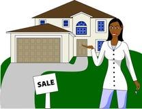 Een onroerende goederenagent die met sleutels een huis adverteert royalty-vrije illustratie
