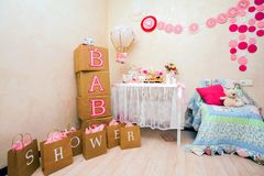 Een ontwerp van de babydouche Stock Afbeelding