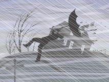 Een onweer en een stortbui royalty-vrije illustratie
