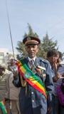 Een oorlogsveteraan met medailles viert de 119ste Verjaardag van Advertentie Royalty-vrije Stock Foto
