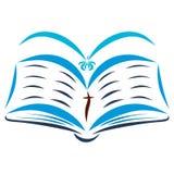 Een open Bijbel en een vliegende vogel, de Heilige Geest royalty-vrije illustratie