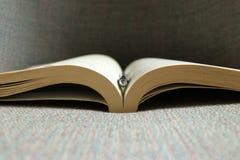 Een open boek en een pen royalty-vrije stock afbeeldingen