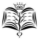 Een open boek met een boom en een hart en een kroon stock illustratie