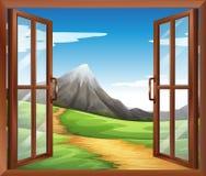 Een open venster over de berg Stock Foto's