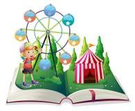 Een open verhalenboek met Carnaval en een jonge jongen stock illustratie