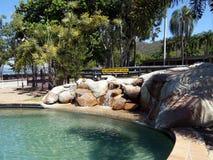 Een openbaar die zwembad door een veiligheidswaarschuwingsbord wordt beschermd op Magnetisch Eiland in Tropisch Australië Royalty-vrije Stock Fotografie