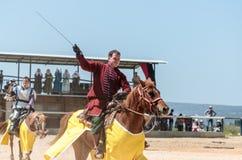 Een opgezette strijder toont zijn capaciteit om een zwaard bij een ridderfestival in Goren-park in Israël te hanteren Royalty-vrije Stock Foto's
