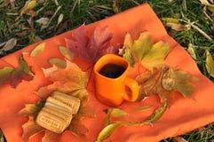 Een oranje kop thee, kleurrijke esdoornbladeren en koekjes op een oranje oppervlakte Royalty-vrije Stock Foto