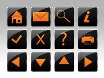 Een oranje pictogramreeks Royalty-vrije Stock Afbeelding