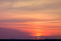 Een oranje zonsondergang Royalty-vrije Stock Fotografie