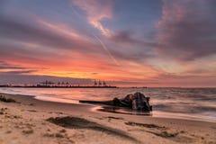 Een oranje zonsondergang Stock Foto