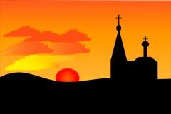 Een oranje zonsondergang en een kerk vector illustratie