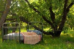 Een oud bed in de tuin Stock Afbeeldingen