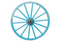 Een oud blauw wagenwiel Royalty-vrije Stock Afbeelding