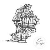 Een oud blokhuis op een steen met een met stro bedekt dak in een schetsstijl Royalty-vrije Stock Fotografie