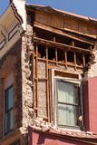 Een oud die gebouw in Napa door aardbeving wordt beschadigd Stock Afbeelding
