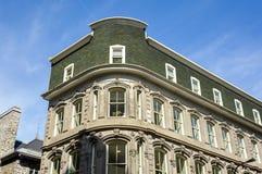 Een oud historisch gebouw met de grote vensters en het groene dak Stock Foto's