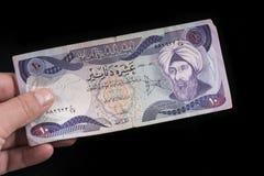 Een oud Iraaks bankbiljet royalty-vrije stock foto's