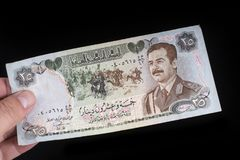 Een oud Iraaks bankbiljet stock afbeelding