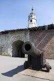 Een oud kanon op het grondgebied van de Vesting van Belgrado Stock Afbeelding
