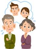 Een oud paar dat over hun zoon en paar moeilijk voelt stock illustratie