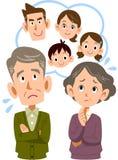 Een oud paar moeilijk over hun zoons` s familie vector illustratie