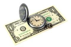 Een oud retro zakhorloge met krassen ligt op een één-dollar rekening Het concept tijd is geld Geïsoleerde Voorwerp voor ontwerp  stock fotografie