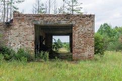 Een oud verlaten die gebouw met bomen wordt overwoekerd stock foto's