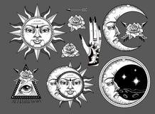 Een oude astronomische illustratie van de zon, de maan, de sterren, de roos, het oog in de grafische stijl van de antiquiteit stock illustratie