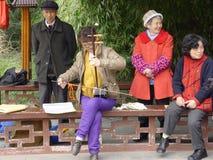 Een oude dame speelt Erhu Stock Foto's
