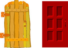 Een oude deur en nieuwe  royalty-vrije illustratie