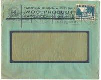 Een oude gebruikte Poolse envelop (campagneaffiche) Stock Foto