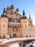Een oude kasteel en een kathedraal Stock Afbeelding