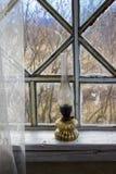 Een oude kerosinelamp Stock Foto's