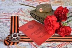 Een oude militaire identiteitskaart, orde van de Patriottische Oorlog in St George Stock Foto