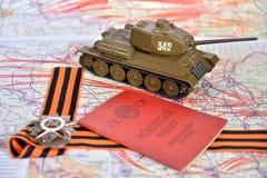Een oude militaire identiteitskaart, orde van de Patriottische Oorlog in St George B Stock Fotografie