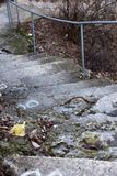 Een oude open buitensteentrap Steen, cementstappen van de oude trap met sporen van verwering en vernietiging Oud royalty-vrije stock fotografie