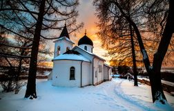 Een oude Russische Orthodoxe kerk Royalty-vrije Stock Afbeeldingen