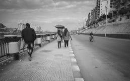 een oude straat, mansourastad, Egypte Royalty-vrije Stock Afbeeldingen