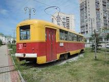 Een oude tram in Khabarovsk Stock Foto