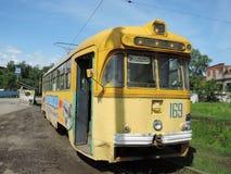 Een oude tram in Khabarovsk royalty-vrije stock fotografie
