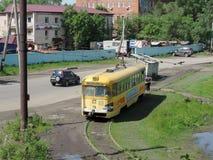 Een oude tram in Khabarovsk royalty-vrije stock afbeeldingen