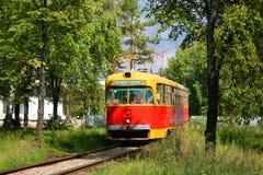 Een oude tram in struiken royalty-vrije stock afbeelding
