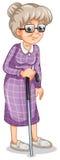 Een oude vrouw met een riet stock illustratie