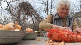 Een oude vrouw met grijs haar neemt uien op alvorens in de keuken, organische groenten, haar eigen gewas te koken stock videobeelden
